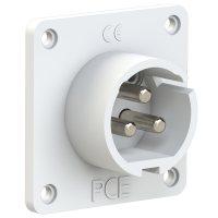683-10v PCE Вилка встраиваемая 16A/24-42V/2P+E/IP44, никелированные контакты, фланец 70x70