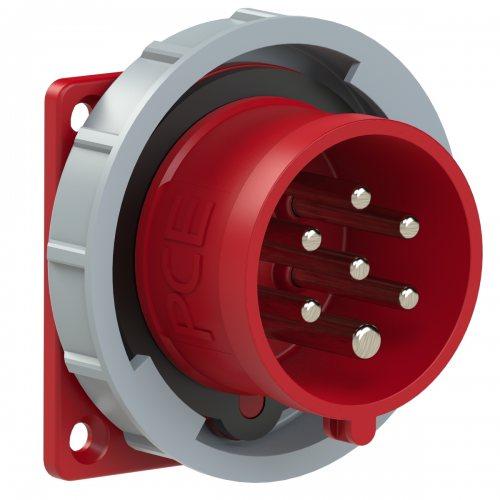 6172-6v Вилка встраиваемая 16A/400V/6P+E/IP67, фланец 75x75, никелированные контакты