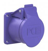 363f5v PCE Розетка встраиваемая 16А/24V/2P+E/IP44, фланец 55х55, никелированные контакты