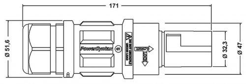 SPZ4LD2BK075MQ SPZ 400A вилка кабельная L2, черная