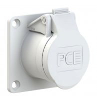 383-10v PCE Розетка встраиваемая 16А/24-42V/2P+E/IP44,фланец 70х70, никелированные контакты