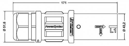 SPZ4LS2BK035MQ SPZ 400А розетка кабельная L2,  черная