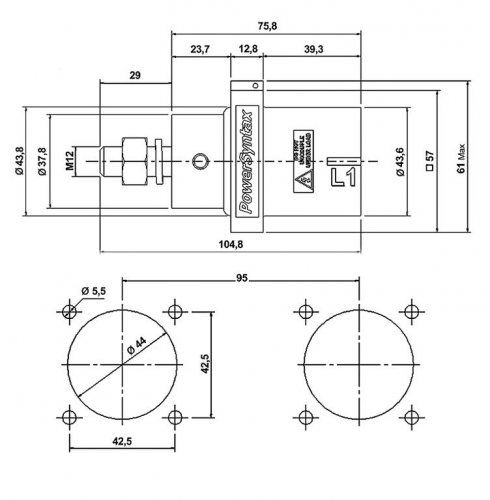 SPX7PS3GY SPX 750А розетка панельная Line 3, серая