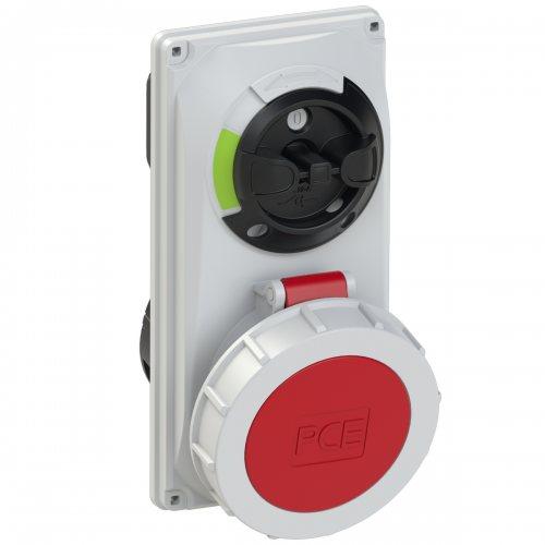 60242-6 PCE Розетка встраиваемая 32А/400V/3P+E/IP67, с выключателем и блокировкой