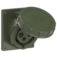 4232-6.u PCE Розетка встраиваемая наклонная 32А/230V/1P+N+E/IP67, фланец 92x100, бронзово-зелёный