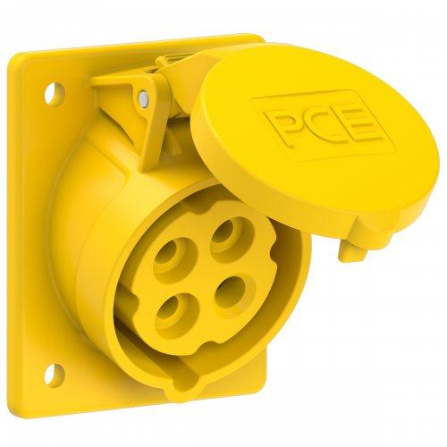 414-4 PCE Розетка встраиваемая наклонная 16А/110V/3P+E/IP44