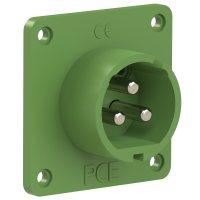 693-11v PCE Вилка встраиваемая 32A/24-42V/2P+E/IP44, никелированные контакты, фланец 70x70