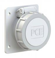 3822-12f87v PCE Розетка встраиваемая 16A/42V/2P/IP67, фланец 75x85, никелированные контакты