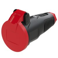 2522-sr PCE Розетка кабельная 16A/250V/2P+E/IP54 с крышкой, корпус черный, крышка и маркер красный