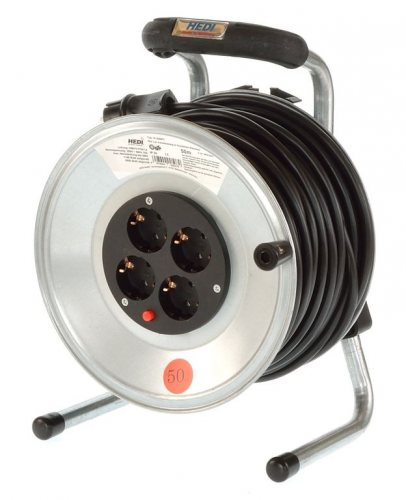 K1S50PT HEDI Удлинитель на катушке из металла D=255мм/4GS/IP20/50м H05VV-F3G1,5/термозащита