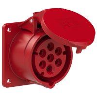 317-6f7v PCE Розетка встраиваемая 16A/400V/6P+E/IP44, фланец 75x75, никелированные контакты