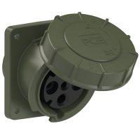 434-6.u PCE Розетка встраиваемая наклонная 63А/400V/3P+E/IP67, фланец 100x107, бронзово-зелёный