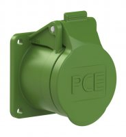 383-2f5v PCE Розетка встраиваемая 16А/24-42V/2P+E/IP44, фланец 55х55, никелированные контакты