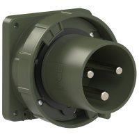 643-6.u PCE Вилка встраиваемая 125А/230V/1P+N+E/IP67, фланец 100x100, бронзово-зеленый