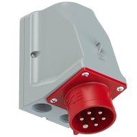 9527-6v PCE Розетка настенная 32А/400V/6P+E/IP44, никелированные контакты