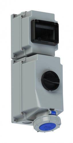 76332-6 PCE Розетка настенная 63А/230V/1P+N+E/IP67, под автоматический выключатель, с окном на 6 модулей и DIN-рейкой, для установки модульных устройств защиты